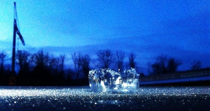 Remnants of frozen soap bubble